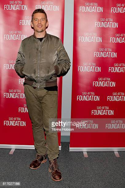 Ethan Hawke attends the SAGAFTRA Foundation Conversations for 'Born To Be Blue' at SAGAFTRA Foundation on March 22 2016 in Los Angeles California