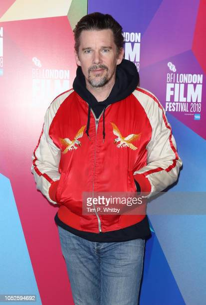 Ethan Hawke attends the UK Premiere of Blaze during the 62nd BFI London Film Festival at Curzon Soho on October 20 2018 in London England