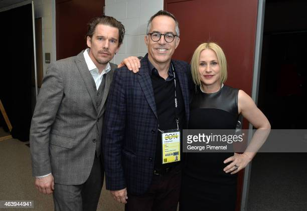 Ethan Hawke director of the Sundance Film Festival John Cooper and Patricia Arquette attend the 'Boyhood' premiere at Eccles Center Theatre during...