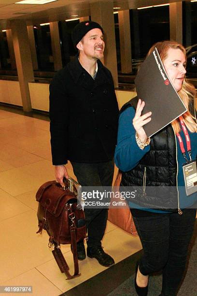 Ethan Hawke is seen at Salt Lake City Airport on January 22 2015 in Park City Utah
