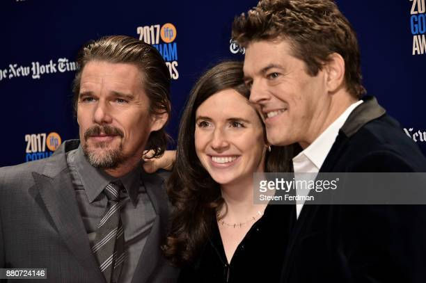 Ethan Hawke Lauren Schuker and Jason Blum attend IFP's 27th Annual Gotham Independent Film Awards at Cipriani Wall Street on November 27 2017 in New...