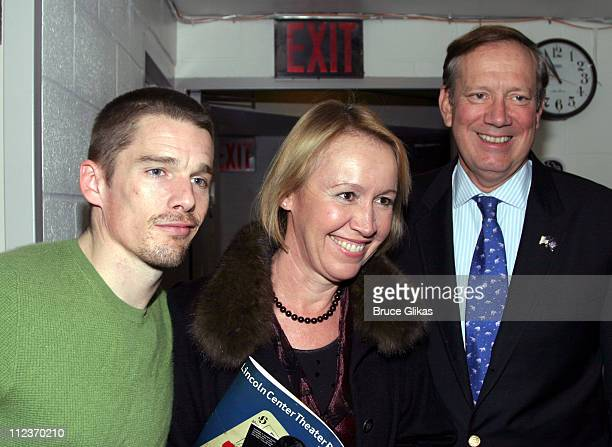 Ethan Hawke Libby Pataki and George Pataki during New York Governer George Pataki and wife Libby Pataki visit Ethan Hawke Backstage at Henry IV at...