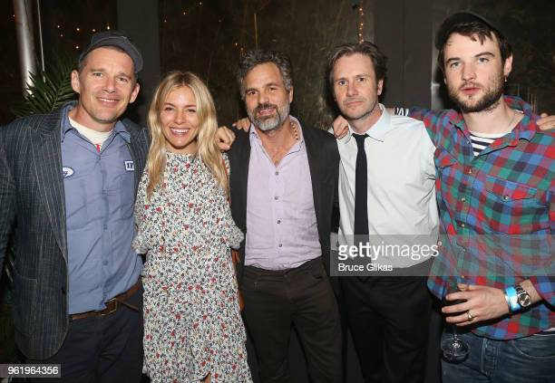 Ethan Hawke Sienna Miller Mark Ruffalo Josh Hamilton and Tom Sturridge pose at the opening night after party for The New Group Theater's new play...