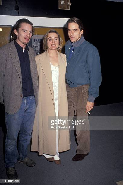 Ethan Hawke Sinead Cusack and Jeremy Irons during Waterland Premiere October 12 1992 at Bruno Walter Auditorium in New York City New York United...