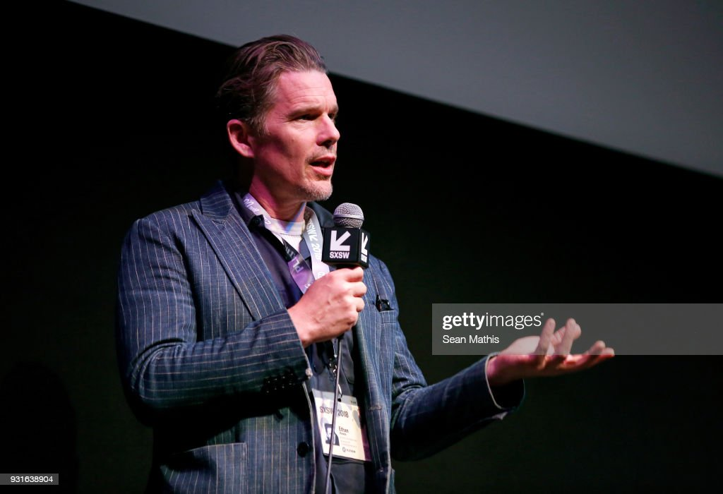 Ethan Hawke speaks onstage at the premiere of 'First Reformed' during SXSW at Elysium on March 13, 2018 in Austin, Texas.