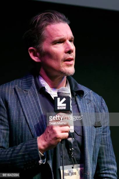 Ethan Hawke speaks onstage at the premiere of 'First Reformed' during SXSW at Elysium on March 13 2018 in Austin Texas