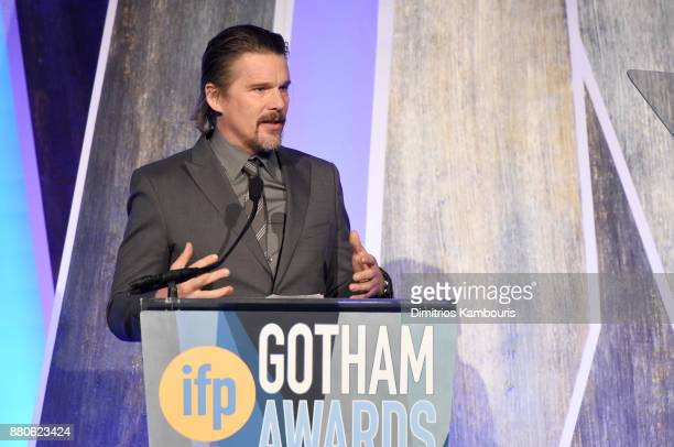 Ethan Hawke speaks onstage during IFP's 27th Annual Gotham Independent Film Awards on November 27 2017 in New York City
