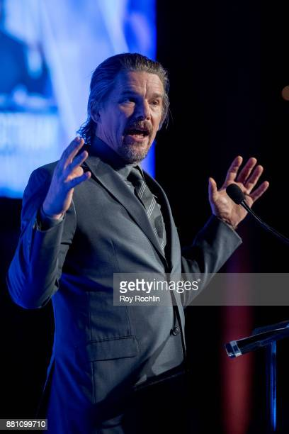 Ethan Hawke speaks onstage during IFP's 27th Annual Gotham Independent Film Awards at Cipriani Wall Street on November 27 2017 in New York City