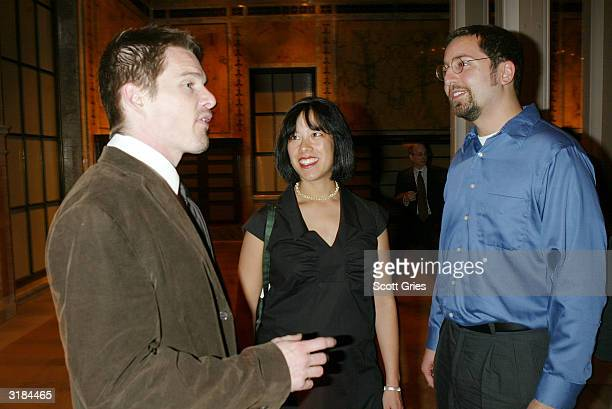 Ethan Hawke Susan Choi and Jordan Ellenberg attend the party to announce the winner of the Young Lions Fiction Award at The New York Public Library...