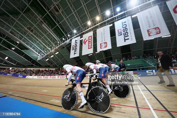 Ethan Hayter Ed Clancy Kian Emadi Charlie Tanfield and Oliver Wood of Great Britain compete in the Men's team pursuit race final on day two of the...