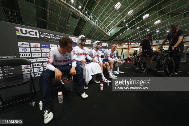 Ethan Hayter Edward Clancy Oliver Wood and Kian Emadi of Great Britain or Team GB compete in the men's pursuit qualifying on day one of the UCI Track...