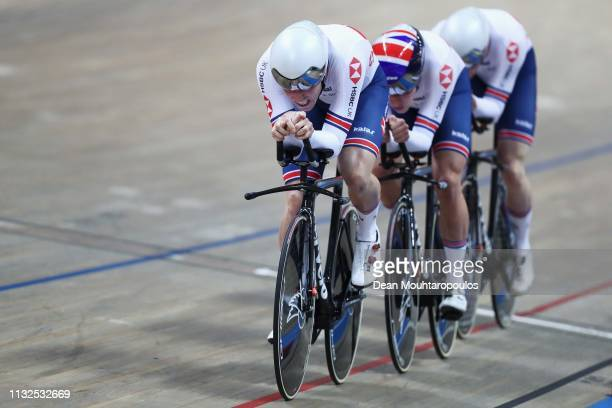 Ethan Hayter, Edward Clancy, Oliver Wood and Kian Emadi of Great Britain or Team GB compete in the men's pursuit qualifying on day one of the UCI...