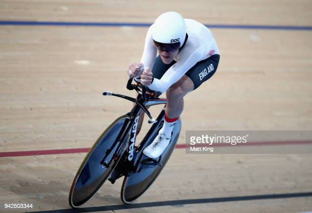 Ethan Hayter of England competes in the Men's 4000m Individual Pursuit Qualifying during the Cycling on day two of the Gold Coast 2018 Commonwealth...