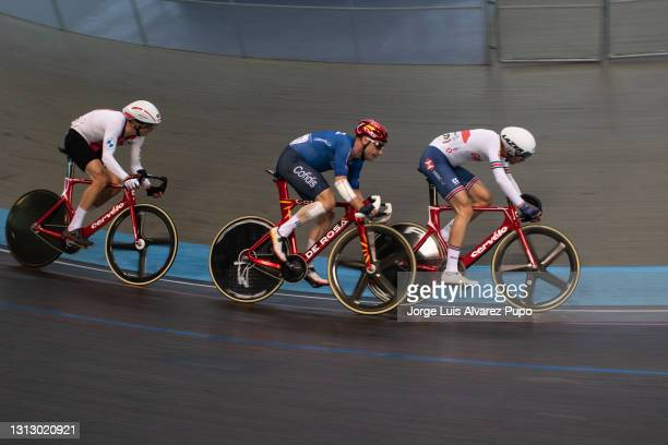 Ethan Hayter of Great Britain and Elia Viviani of Italy compete during the Points race of the Omnium as part of the UCI Belgian International Track...