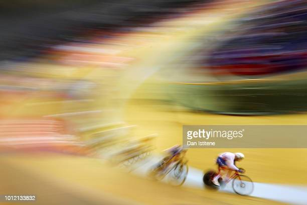 Ethan Hayter of Great Britain competes in the Men's Madison Final during the track cycling on Day five of the European Championships Glasgow 2018 at...