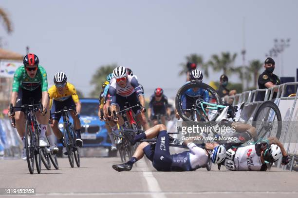 Ethan Hayter of United Kingdom and Team INEOS Grenadiers Green Points Jersey, Miguel Ángel López Moreno of Colombia and Movistar Team yellow leader...