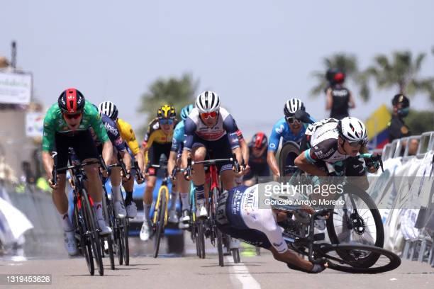 Ethan Hayter of United Kingdom and Team INEOS Grenadiers Green Points Jersey, Toms Skujins of Latvia and Team Trek - Segafredo, Daryl Impey of South...