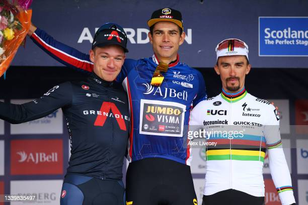 Ethan Hayter of United Kingdom and Team INEOS Grenadiers in second place, Wout Van Aert of Belgium and Team Jumbo - Visma blue leader jersey and...
