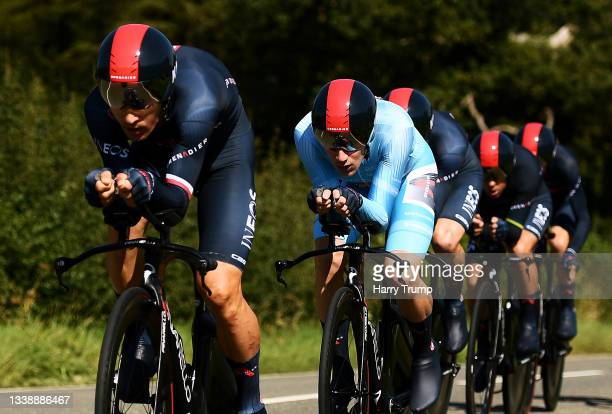 Ethan Hayter of United Kingdom and Team INEOS Grenadiers turquoise points jersey and his teammates sprint during the 17th Tour of Britain 2021, Stage...
