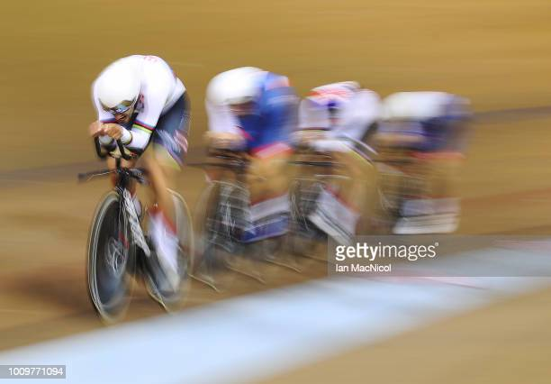 Ethan Hayter, Oliver Wood, Steven Burke and Kian Emadi ofTeam GB compete during the Qualifying of the Men's Team Pursuit on Day One of the European...