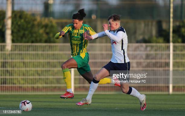 Ethan Ingram of West Brom and Alfie Devine of Tottenham during the FA Youth Cup match between Tottenham Hotspur and West Bromwich Albion at Tottenham...