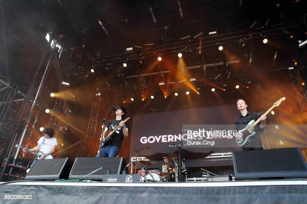 Ethan Ives Will Toldeo Andrew Katz and Seth Dalby of Car Seat Headrest perform on day 2 of the Governors Ball 2017 music festival at Randall's Island...