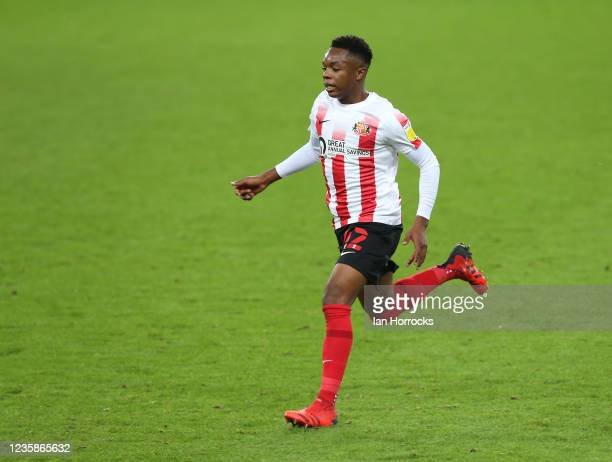 Ethan Kachosa of Sunderland during the Papa John's Trophy match between Sunderland and Manchester United at Stadium of Light on October 13, 2021 in...