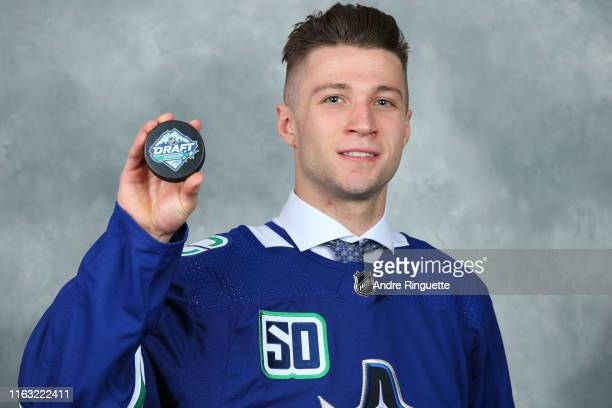 Ethan Keppen 122nd overall pick of the Vancouver Canucks poses for a portrait during Rounds 27 of the 2019 NHL Draft at Rogers Arena on June 22 2019...
