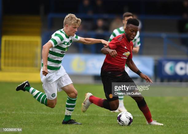 Ethan Laird of Manchester United and Scott Robertson of Celtic during the U19 NI Super Cup gala match between Manchester United and Celtic at...