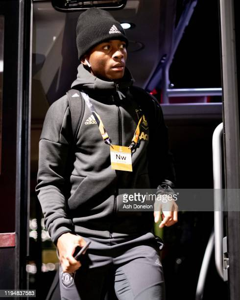 Ethan Laird of Manchester United arrives ahead of the UEFA Europa League group L match between Manchester United and AZ Alkmaar at Old Trafford on...