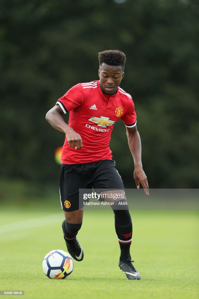 Ethan Laird of Manchester United during the U18 Premier League match between West Bromwich Albion and Manchester United on August 19, 2017 in West Bromwich, England.