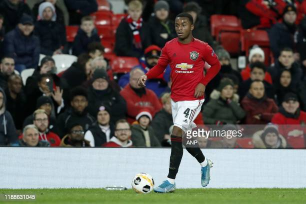 Ethan Laird of Manchester United during the UEFA Europa League group L match between Manchester United and AZ Alkmaar at at Old Trafford on December...
