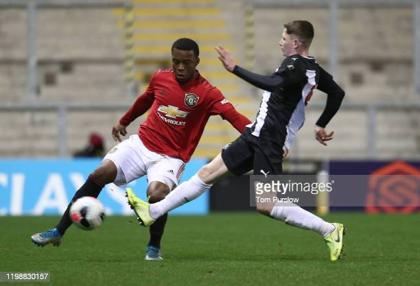 Ethan Laird of Manchester United in action during the Premier League 2 match between Manchester United and Newcastle United at Leigh Sports Village...