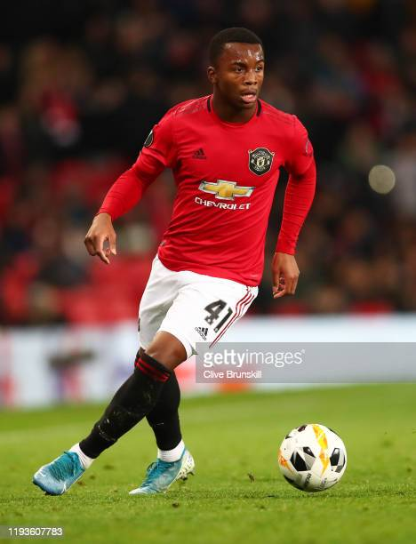 Ethan Laird of Manchester United in action during the UEFA Europa League group L match between Manchester United and AZ Alkmaar at Old Trafford on...
