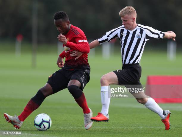 Ethan Laird of Manchester United U18s in action during the U18 Premier League North match between Manchester United U18s and Newcastle United U18s at...