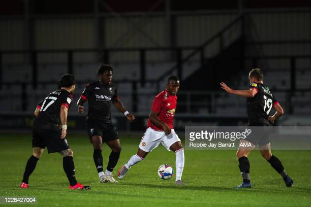 Ethan Laird of Manchester United U21 during the EFL Trophy Northern Group B fixture between Salford City v Manchester United U21at Moor Lane on...