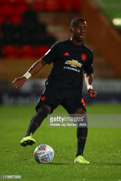 Ethan Laird of Manchester United U21 during the Leasingcom Trophy match fixture between Doncaster Rovers and Manchester United U21's at Keepmoat...