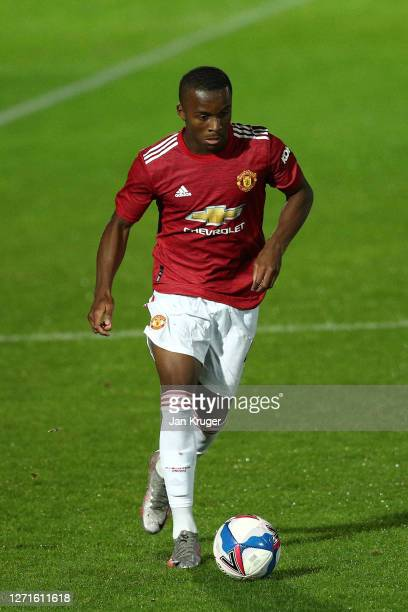 Ethan Laird of Manchester United U21 in action during the EFL Trophy match between Salford and Manchester United U21 at The Peninsula Stadium on...