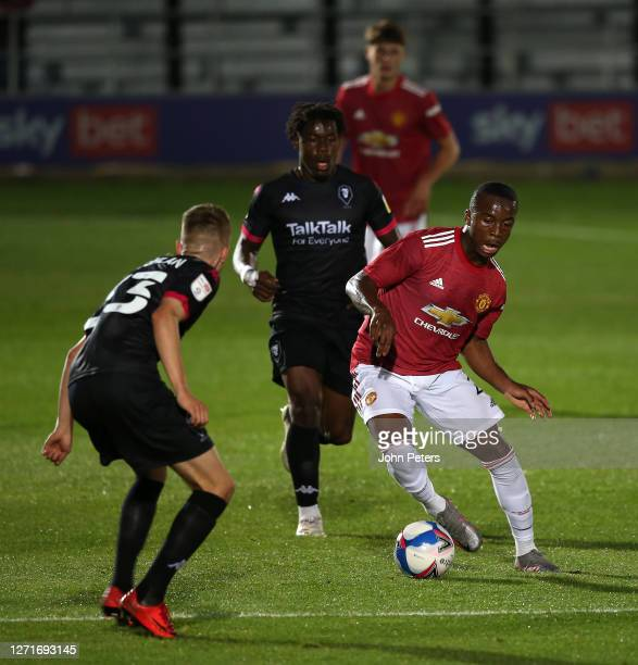 Ethan Laird of Manchester United U21s in action during the EFL Trophy match between Salford City and Manchester United U21s at Moor Lane on September...