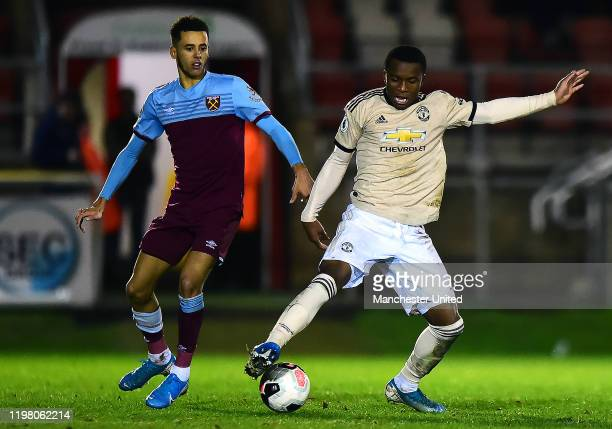 Ethan Laird of Manchester United U23s in action during the Premier League 2 match between West Ham United U23s and Manchester United U23s at Chigwell...