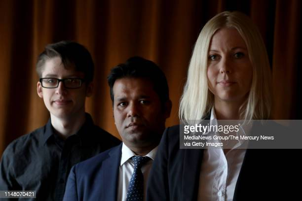 Ethan Lindenberger Tun Khin and Jessikka Aro victims of fake news on social media speak Thursday May 9 in San Francisco Calif about their recent...