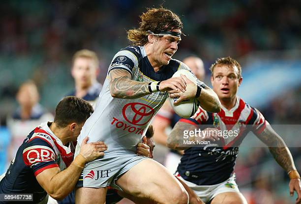 Ethan Lowe of the Cowboys runs the ball during the round 23 NRL match between the Sydney Roosters and the North Queensland Cowboys at Allianz Stadium...