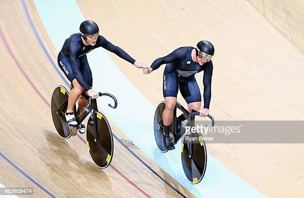 Ethan Mitchell and Edward Dawkins of New Zealand celebrate after New Zealand won Gold in the Men's Team Sprint Final at Sir Chris Hoy Velodrome...