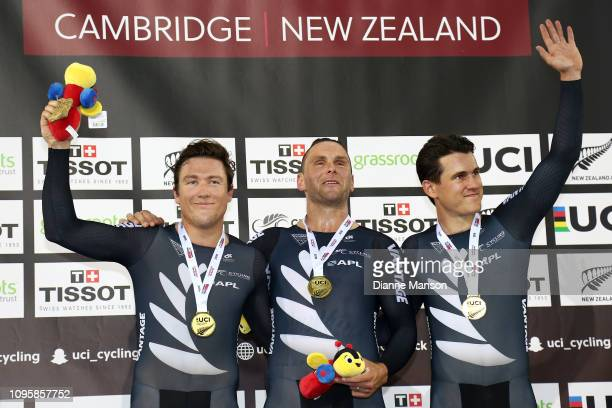 Ethan Mitchell Eddie Dawkins and Sam Webster of New Zealand gold medalists after competing in the Men's Team Pursuit during the 2018 UCI Track World...