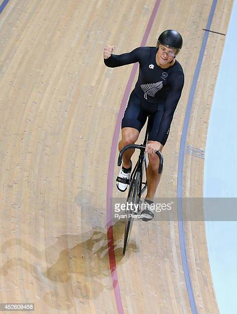 Ethan Mitchell of New Zealand celebrates after New Zealand won Gold in the Men's Team Sprint Final at Sir Chris Hoy Velodrome during day one of the...
