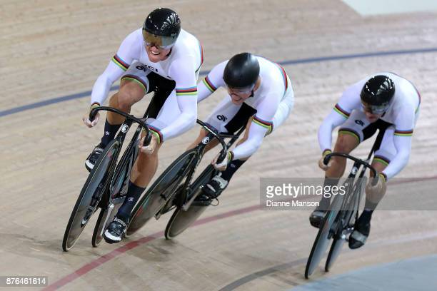 Ethan Mitchell Sam Webster and Eddie Dawkins compete in the Men's Elite Team Sprint final during the New Zealand Oceania Track Championships on...