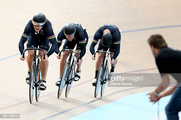 Ethan Mitchell Sam Webster and Eddie Dawkins of New Zealand compete in the Elite Men Team Sprint qualifying during the Oceania Track Cycling...