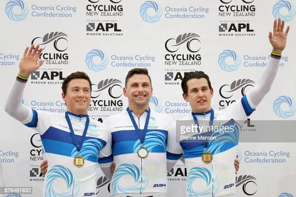 Ethan Mitchell Sam Webster and Eddie Dawkins on the podium after finishing first in the Men's Elite Team Sprint final during the New Zealand Oceania...