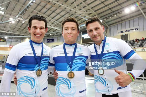 Ethan Mitchell Sam Webster and Eddie Dawkins pose for a photo with their gold medals after finishing first in the Men's Elite Team Sprint final...