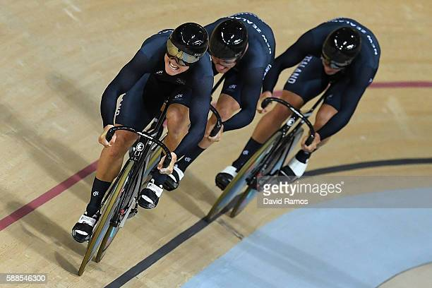 Ethan Mitchell Sam Webster and Edward Dawkins of New Zealand compete in the Men's Team Sprint Track Cycling Qualifying on Day 6 of the 2016 Rio...